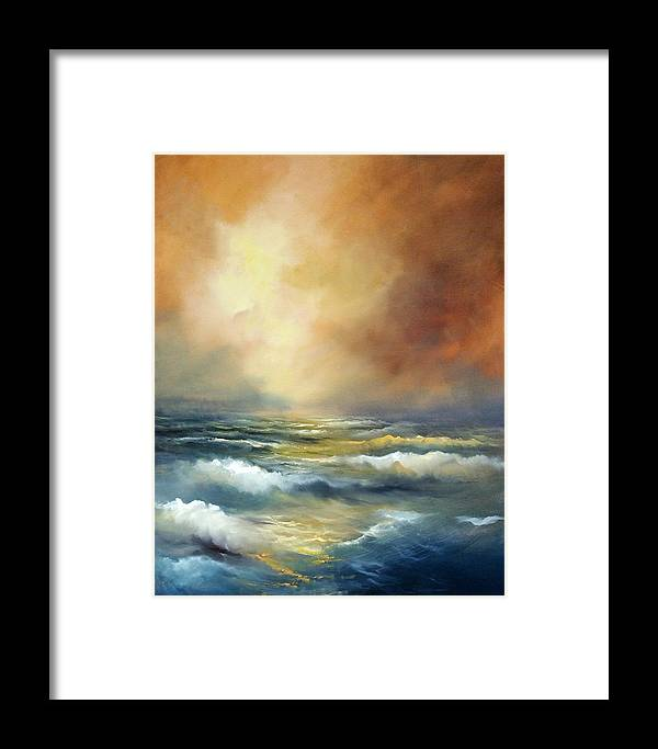 Ocean Framed Print featuring the painting Golden Sea by Sally Seago