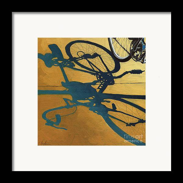 Gold Framed Print featuring the painting Golden Shadows - Wheels by Linda Apple