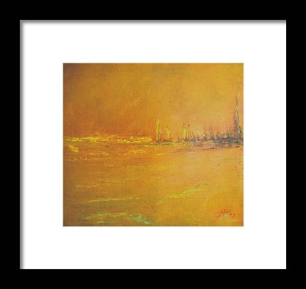 Ships Framed Print featuring the painting Golden Sky by Jack Diamond