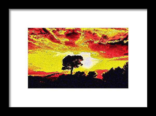 Framed Print featuring the digital art Golden Sun by Modified Image
