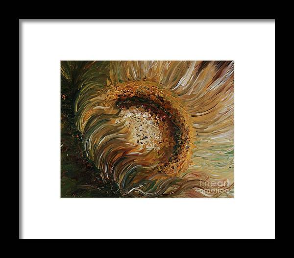 Sunflower Framed Print featuring the painting Golden Sunflower by Nadine Rippelmeyer