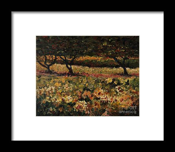 Landscape Framed Print featuring the painting Golden Sunflowers by Nadine Rippelmeyer
