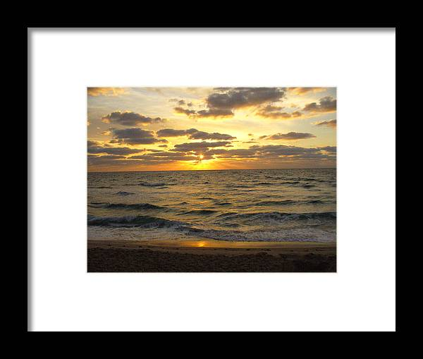 Seahsore Framed Print featuring the photograph Golden Sunrise by Peggy King