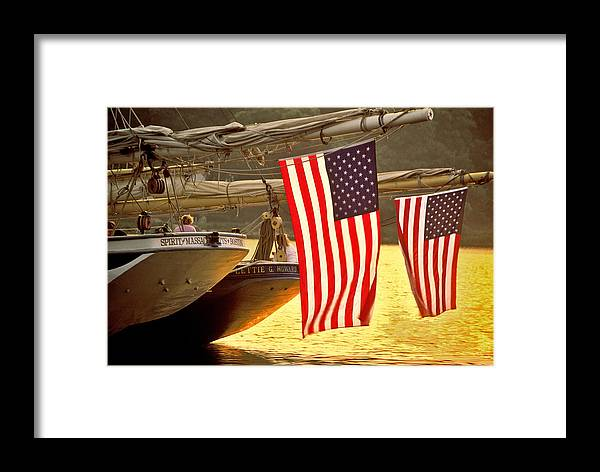 Sunset Framed Print featuring the photograph Golden Sunset And American Flags by Stephen Sisk