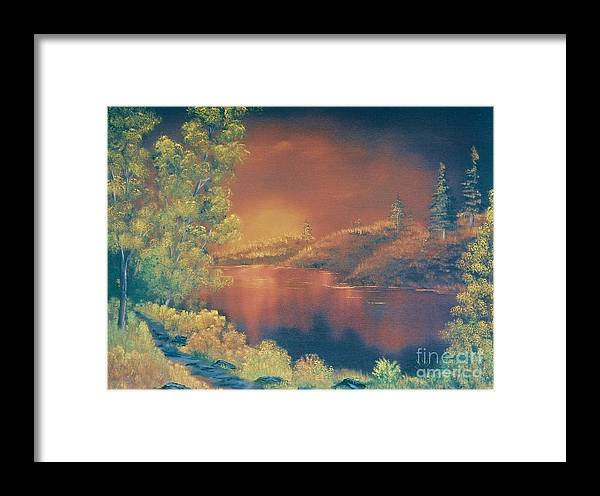 Landscape Framed Print featuring the painting Golden Sunset by Duane West