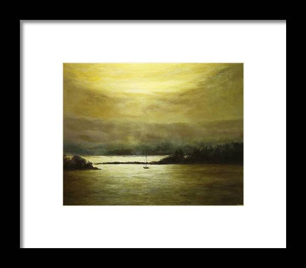 Landscape Framed Print featuring the painting Golden Sunset II by Musa Musa