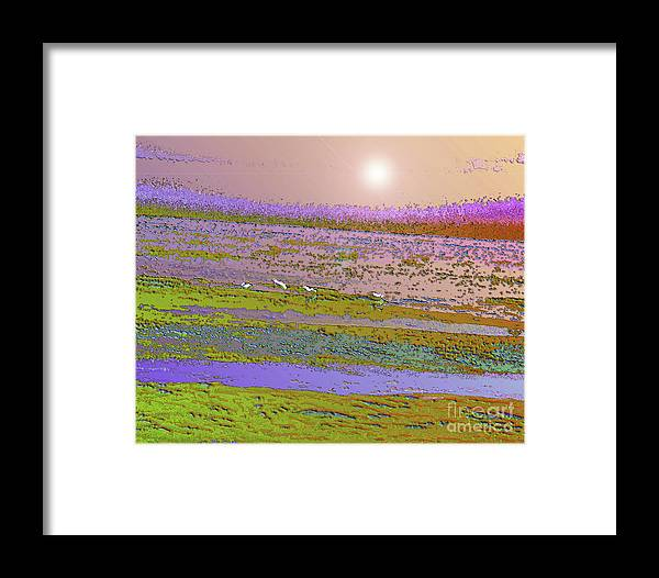 Framed Print featuring the digital art Golden Sunset by Layton Pace