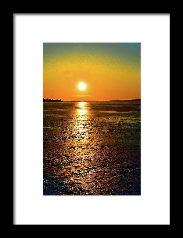 Abstract Framed Print featuring the digital art Golden Sunset Light On The Ice Two by Lyle Crump