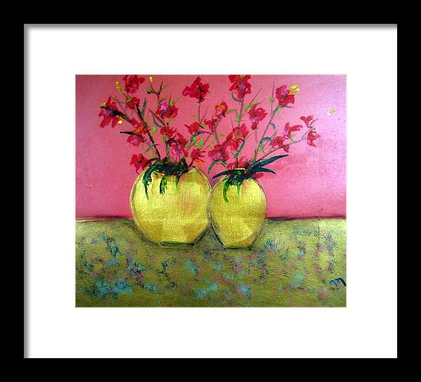 Decorative Framed Print featuring the painting Golden Vases - Red Blooms by Michela Akers