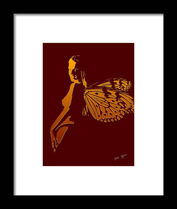 Nude Framed Print featuring the painting Golden Wings by Tray Mead