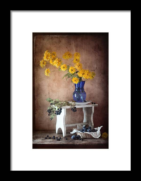 Rustic Framed Print featuring the photograph Goldenglow Flowers In Blue Vase by Nikolay Panov