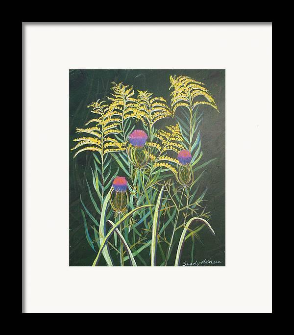 Goldenrod Framed Print featuring the painting Goldenrod In Summer by Art Nomad Sandra Hansen