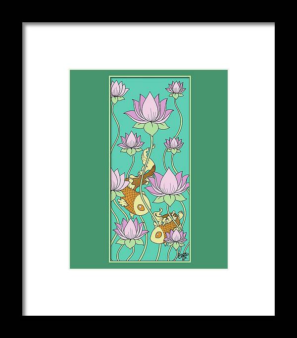 Goldfish Framed Print featuring the digital art Goldfish And Lotus by Eleanor Hofer