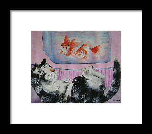 Fantasy Framed Print featuring the painting Goldfish Dream by Lian Zhen