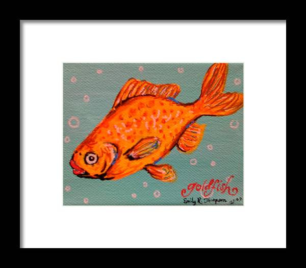 Fish Whimsical Animal Goldfish Lips Framed Print featuring the painting Goldfish by Emily Reynolds Thompson