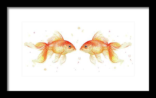 Gold Framed Print featuring the painting Goldfish Love Watercolor by Olga Shvartsur