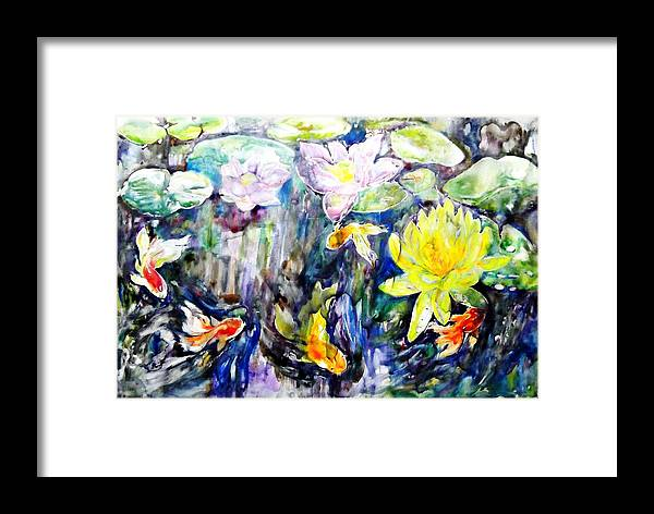 Goldfishes Framed Print featuring the painting Goldfishes Happily Swimming by Jongdee Thongkam