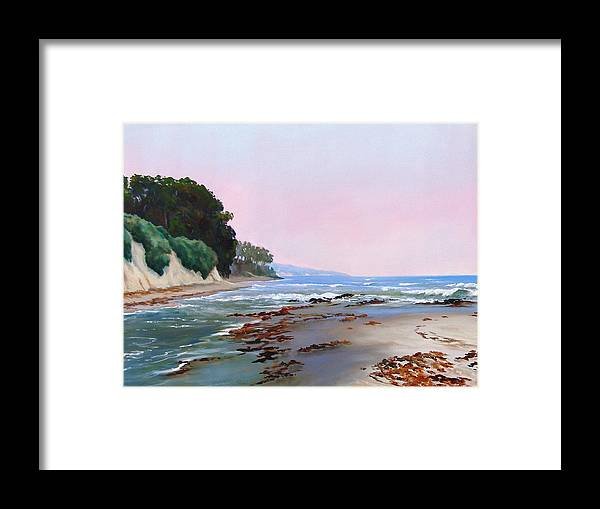 Ocean Framed Print featuring the painting Goleta Beach Rushing Tide by Dorothy Nalls