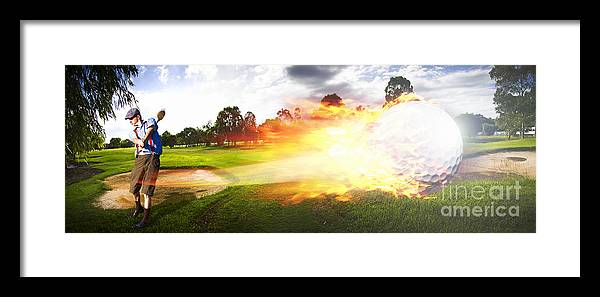 Vacation Framed Print featuring the photograph Golf Ball On Fire by Jorgo Photography - Wall Art Gallery