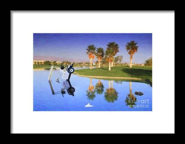 Golf Cart In Water Framed Print featuring the photograph Golf Cart Stuck In Water by David Zanzinger
