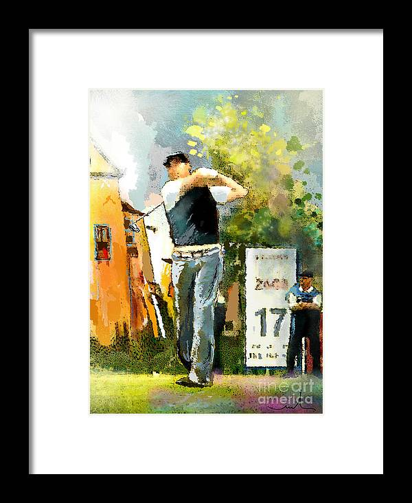 Golf Framed Print featuring the painting Golf In Club Fontana Austria 01 Dyptic Part 01 by Miki De Goodaboom
