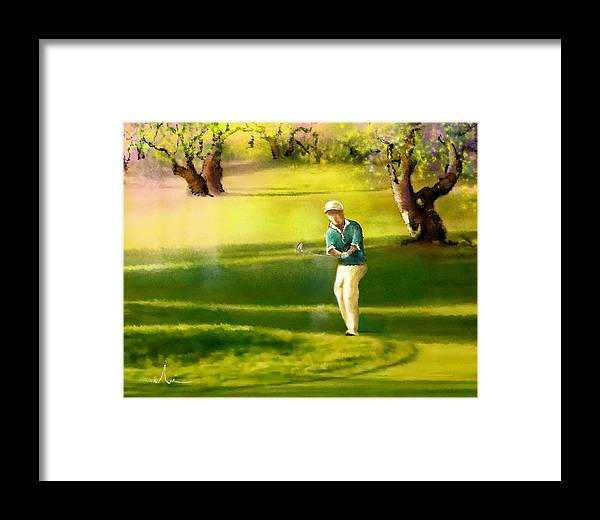 Sports Framed Print featuring the painting Golf In Spain Castello Masters 02 by Miki De Goodaboom