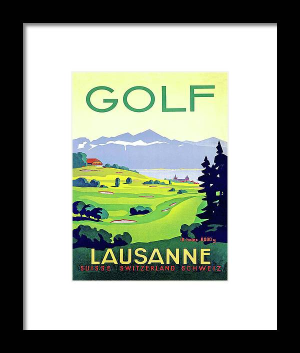 Golf Framed Print featuring the digital art Golf, Lausanne, Switzerland, Travel Poster by Long Shot
