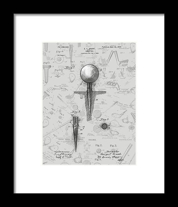 Golf Tee Patent Drawing Grey 2 Framed Print by Bekim Art