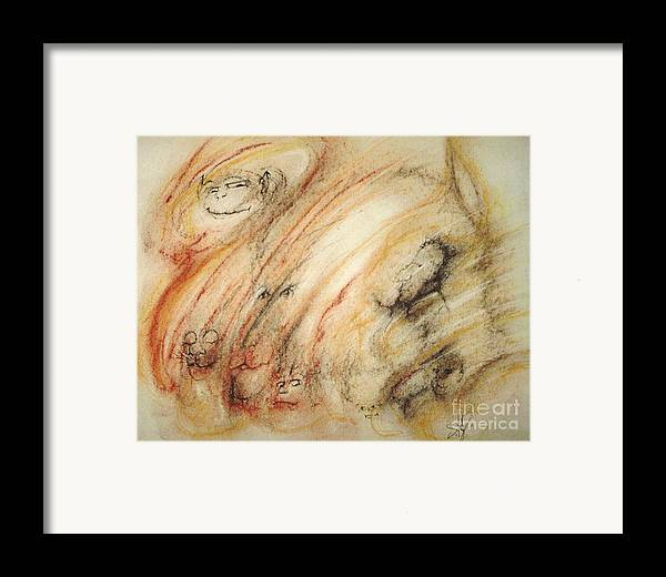 Surreal Framed Print featuring the drawing Gollum Is Watching by Stephanie H Johnson