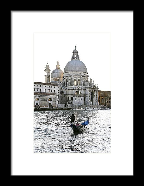 Gondola Framed Print featuring the photograph Gondola alla Salute by Marco Missiaja