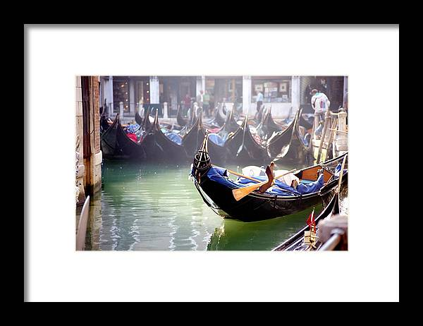 Venice Framed Print featuring the photograph Gondola In Venice In The Morning by Michael Henderson