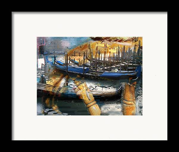 Italy Framed Print featuring the digital art Gondolas Gondalas And More Gondalas by Xavier Carter