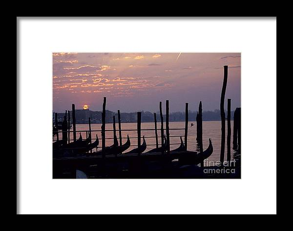 Venice Framed Print featuring the photograph Gondolas In Venice At Sunrise by Michael Henderson