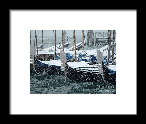 Venice Framed Print featuring the photograph Gondolas In Venice During Snow Storm by Michael Henderson