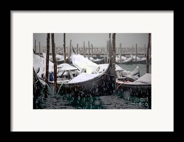 Venice Framed Print featuring the photograph Gondolas In Venice In The Snow by Michael Henderson