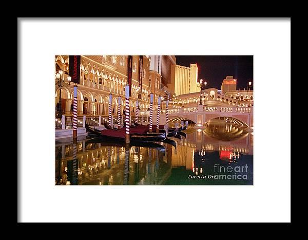 Photography Reflections Boats Gondolas Las Vegas Venetian Places Travel Framed Print featuring the photograph Gondolas by Loretta Orr