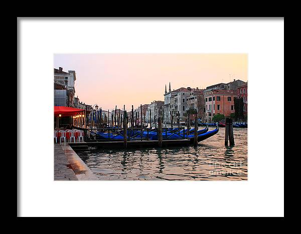 Venice Framed Print featuring the photograph Gondolas On The Grand Canal In Venice In The Morning by Michael Henderson