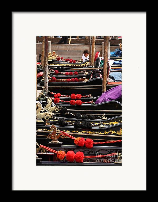 Venice Framed Print featuring the photograph Gondolas Parked In Venice by Michael Henderson