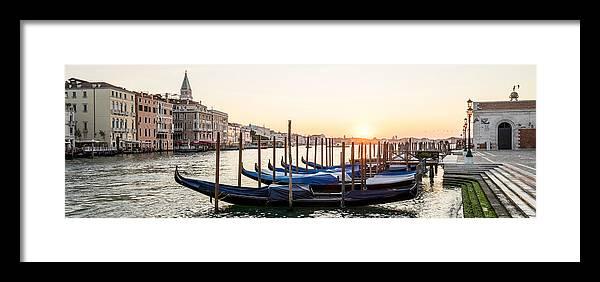 Venice Framed Print featuring the photograph Gondolas Sunrise 00323 by Marco Missiaja
