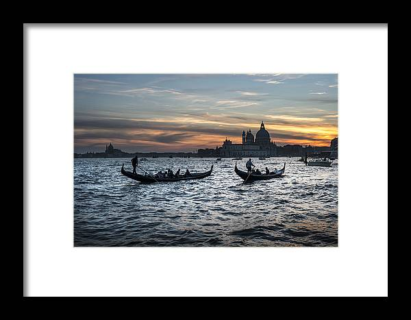 Venice Framed Print featuring the photograph Gondole Al Tramonto Sam210x by Marco Missiaja