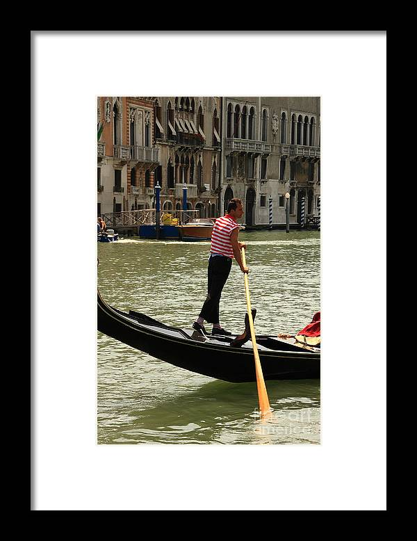 Venice Framed Print featuring the photograph Gondolier with Matching Socks by Michael Henderson