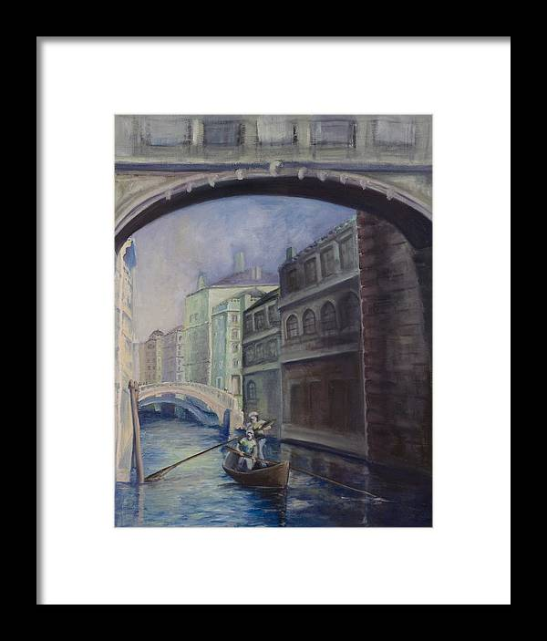 Venice Framed Print featuring the painting Gondoliers by Victoria Shea