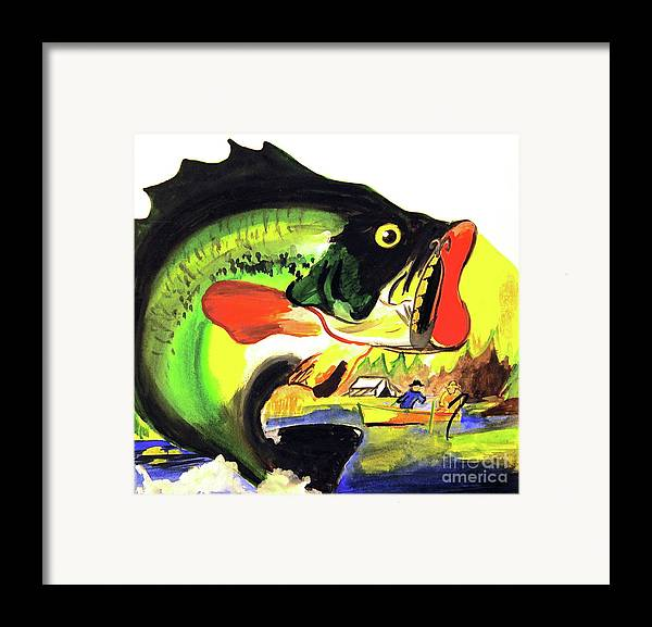 <a Href=https://twitter.com/lindalsimon Class=twitter-follow-button Data-button=grey Data-text-color=#ffffff Data-link-color=#00aeff>follow @lindalsimon</a> Fish Framed Print featuring the painting Gone Fishing by Linda Simon