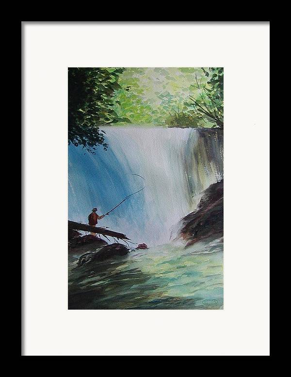 Fishing Landscape Framed Print featuring the painting Gone Fishing by Sharon Steinhaus