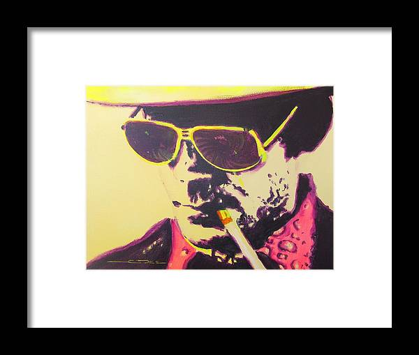 Hunter S. Thompson Framed Print featuring the painting Gonzo - Hunter S. Thompson by Eric Dee