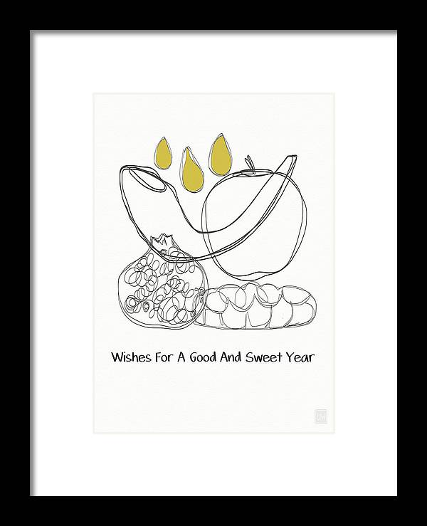 Rosh Hashanah Framed Print featuring the mixed media Good And Sweet Year- Art By Linda Woods by Linda Woods