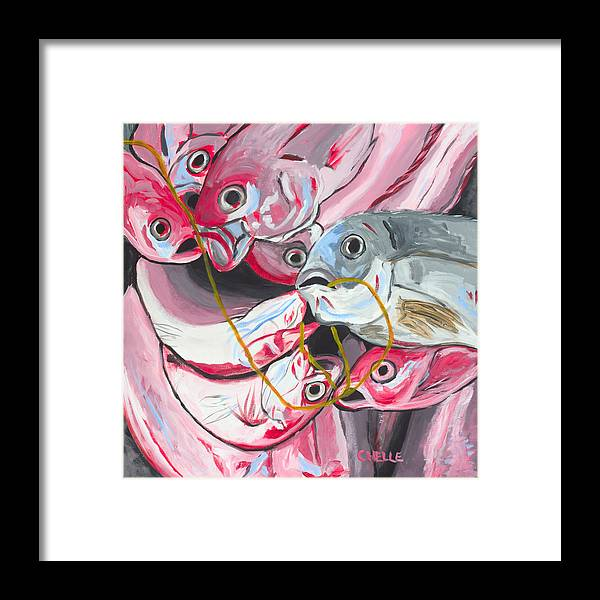 Fish Framed Print featuring the painting Good Catch by Chelle Fazal