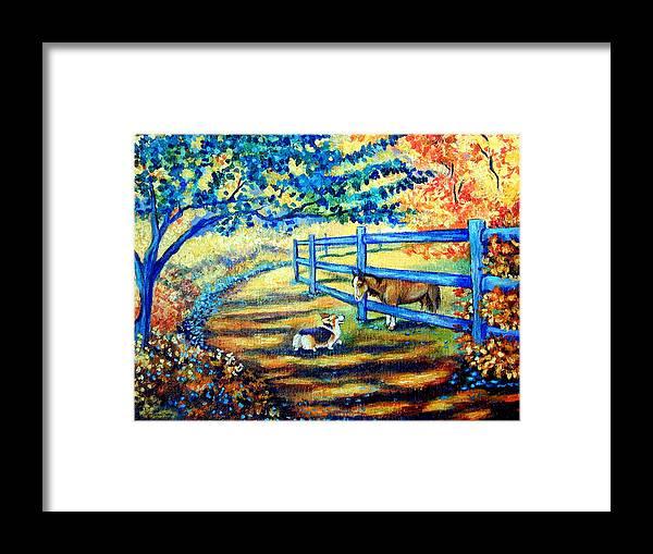 Good day greetings pembroke welsh corgi framed print by lyn cook pembroke welsh corgi framed print featuring the painting good day greetings pembroke welsh corgi by m4hsunfo
