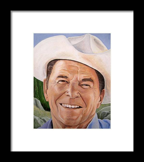 Cowboy Framed Print featuring the painting Good Guys Wear White Hats by Kenneth Kelsoe