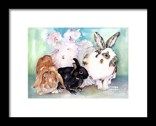 Animal Artwork Framed Print featuring the painting Good Hare Day by Pat Saunders-White